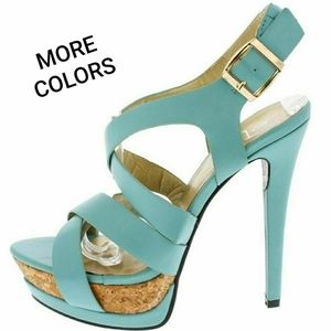 Manhattan9 Mint Open Toe Cork Platform Heels